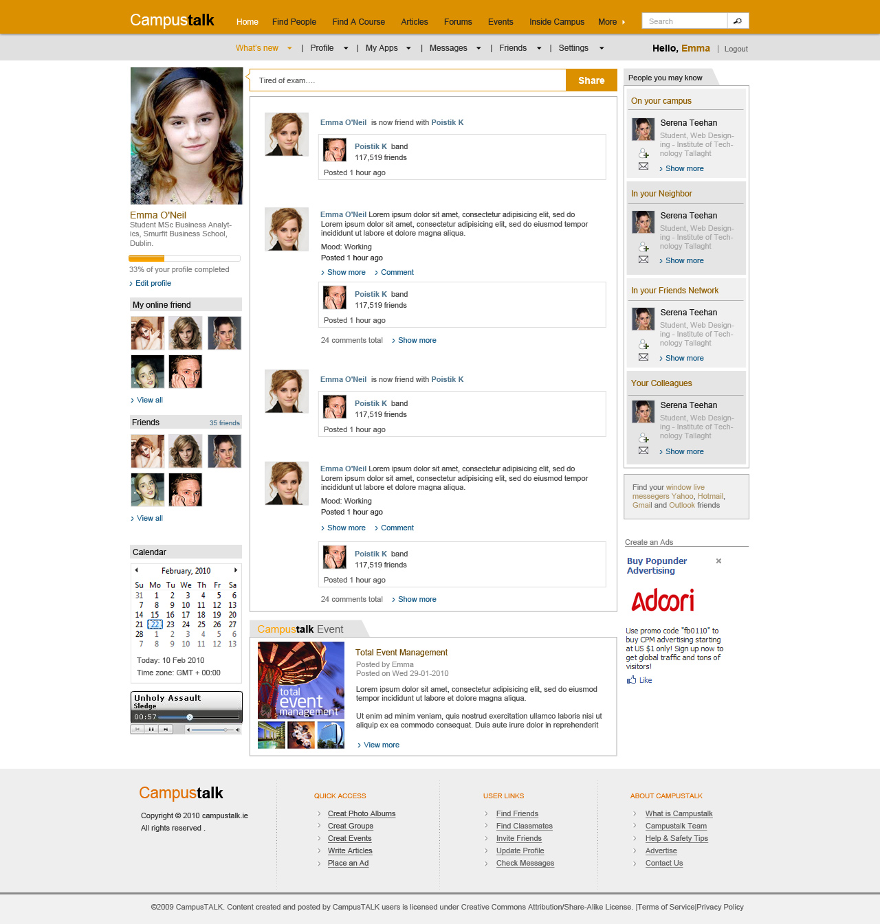 Social network template for Social networking sites templates php