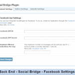 Back End - Social Bridge - Facebook Settings