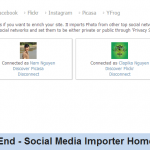 Front End - Social Media Importer Home Page