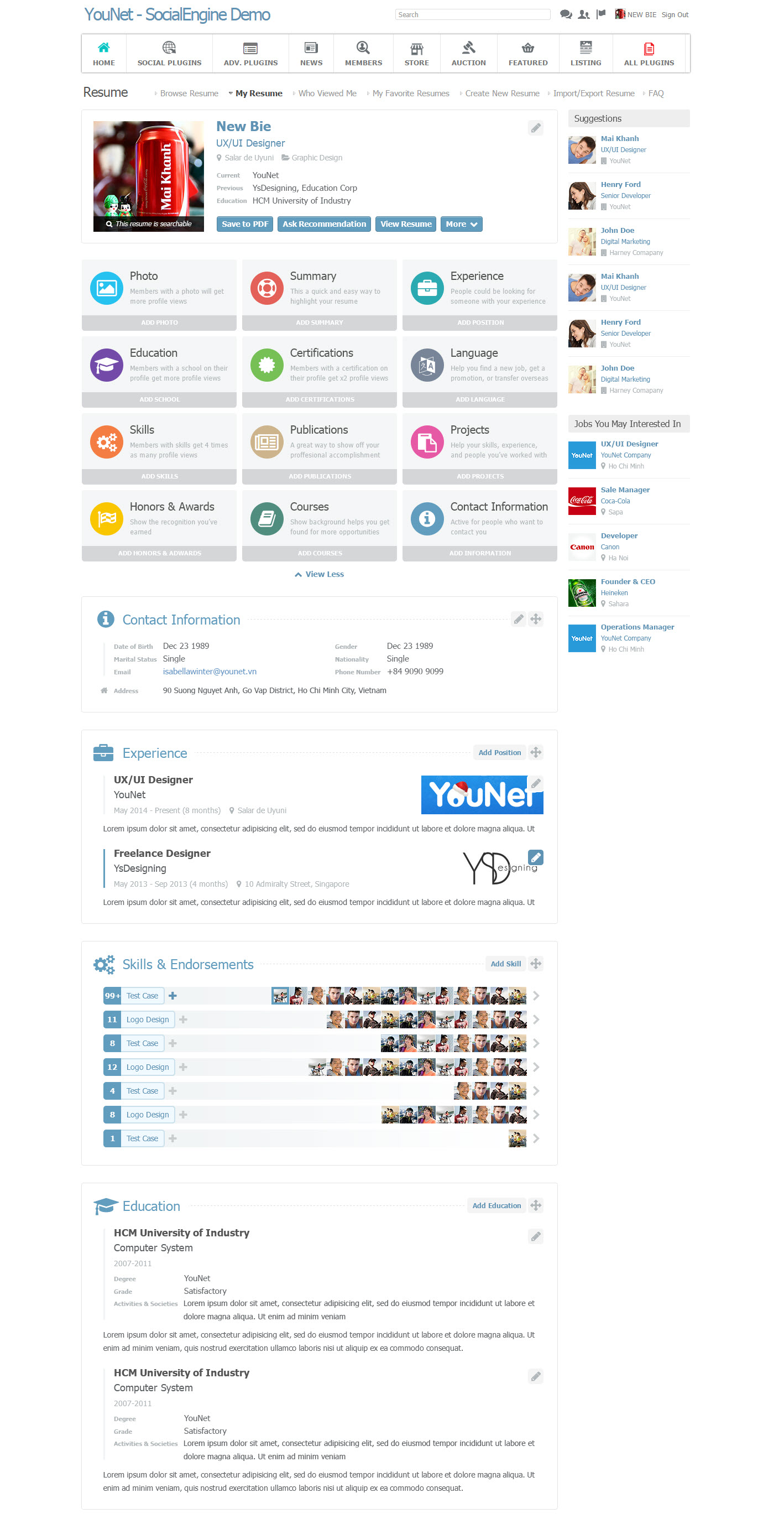 socialengine resume cv plugin